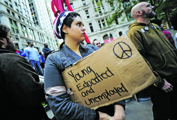 Members of Occupy Wall Street stage a pr